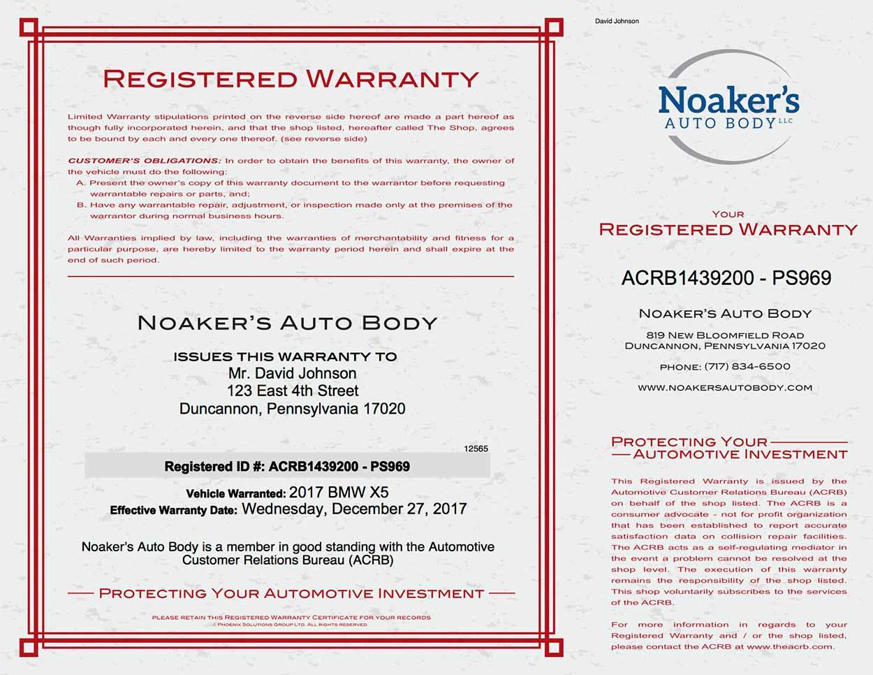 Noaker's Collision Warranty